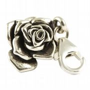 Rose Flower Head Sterling Silver Clip On Charm - With Clasp